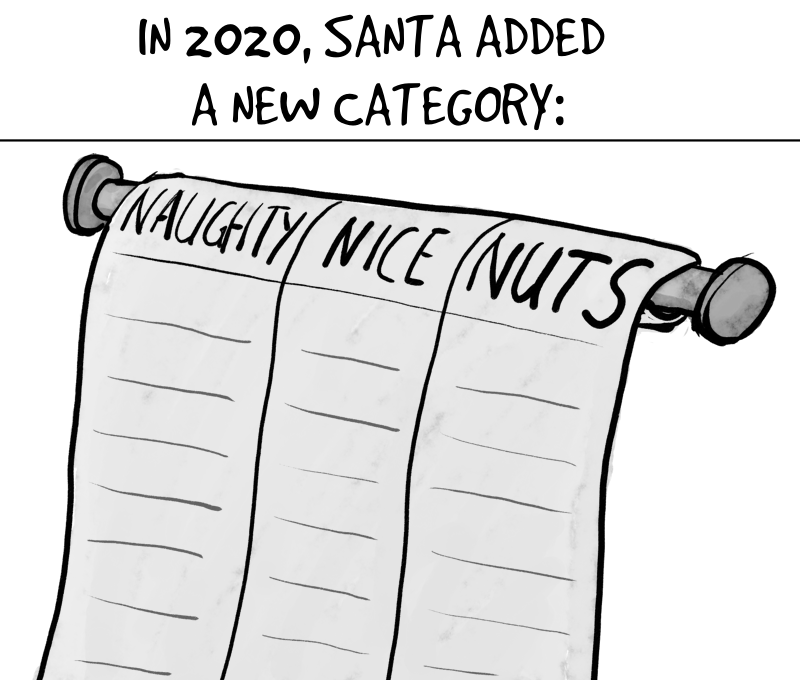 Cartoon. Caption: 'in 2020 Santa added a new category'. You see Santa's list with the categories 'naughty', 'nice' and 'nuts'