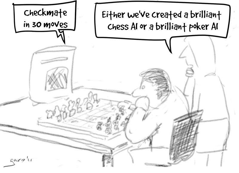 "cartoon of a man about to do his first move in a game of chess against a computer. The computer says ""checkmate in 30 moves"". The man says ""either we've made a brilliant chess AI or a brilliant poker AI"